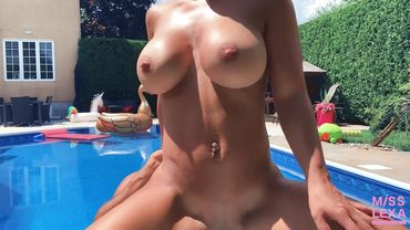 Amateur chick with a cute bubble but gets fucked next to the pool
