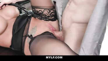 Busty tattooed MILF has her way of pleasing her boss at work
