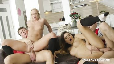 Vanessa Decker and Vinna Reed do some anal group sex with two guys