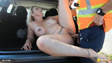 Busty blonde MILF gives the mechanic a wet blowjob before being fucked outdoors