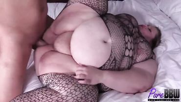 Ugly BBW is fucked missionary after giving a blowjob and playing with balls