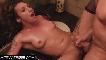 Natural tits is rewarded with a cumshot after riding her man in the bathroom