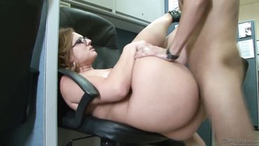 Curvy MILF has her tight pussy banged on the office chair doggy style