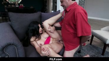 Curvy Latina seduces an older man with a blowjob and gets dicked down hardcore