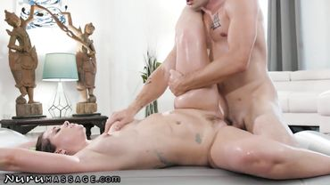 Busty brunette takes a shower with her man before fucking with him