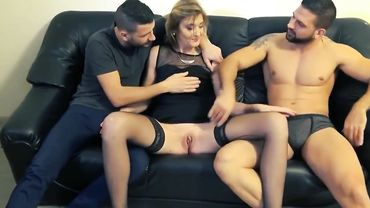 French MILF seduced by two guys and double penetrated after gagging on their dicks