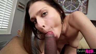 Young brunette gives a sloppy POV blowjob to a BBC before being rammed rough