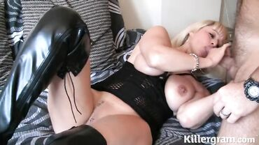 Mature blonde in a sexy corset gives sloppy head and takes a pounding