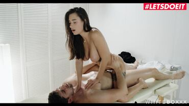 Cute brunette babes enjoys a massage before enduring a while ass fuck rough session