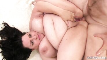 Fat and busty mature brunette gets her shaved pussy and tight asshole rammed