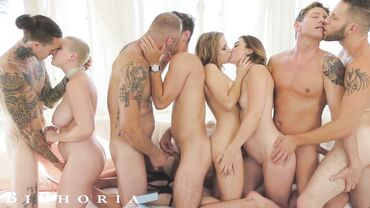 Kat Monroe, Michael Delray and Riley Nixon enjoy anal sex in the middle of an orgy