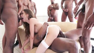 Skinny slut fucks dozens of white and black guys on a party