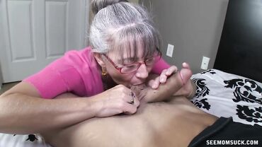 GILF goes down on her knees and gives the best blowjob of her life
