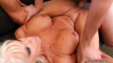 Blonde granny loves fucking with young studs and being their naughty girl