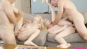 Petite babes with small tits ride throbbing boners in a hardcore foursome