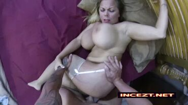 Sleeping mommy with big tits is destroyed after waking up horny in stockings
