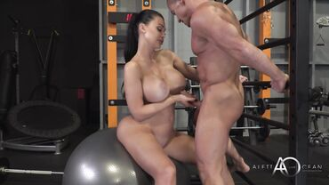 Hungarian MILF gets naked and ready to play with the cock in the gym