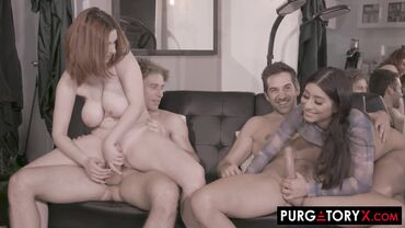 Curvy redhead and inked Latina enjoy a hard fuck in a foursome