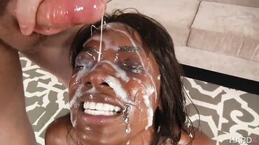 Nasty black girls fuck until they reach the orgasm and get Bukakke