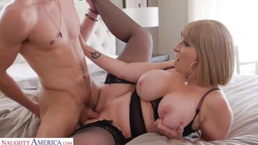 Sluty MILF with fake tits fucks her personal trainer rough and hard