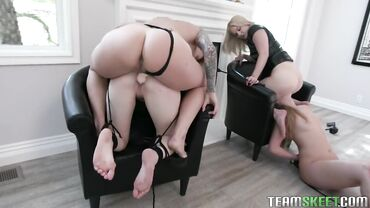 Two submissive tied blonde babes enjoy getting fucked by their mistresses with strapon