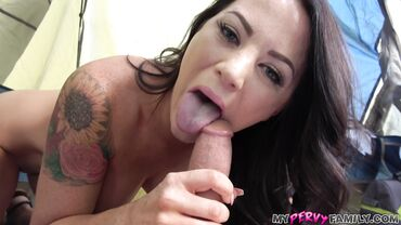 Filthy tattooed brunette student sucks cock and licks it like an icecream