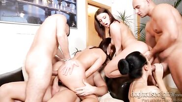 Lustful European babes give blowjobs and enjoy double penetration at a hardcore orgy