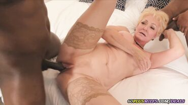 Blonde mature granny in stockings is up for some black threesome HD