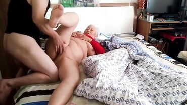 Horny old oriental amateur fucks hard with younger white guy on a bed