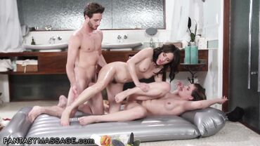 Kendra Lynn, Lucas Frost and Alex More have a rough threesome sex