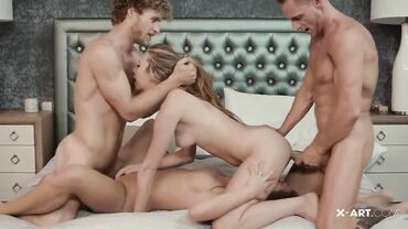 Two gorgeous European babes with slim bodies and shaved pussies fucked in a foursome