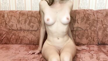 Russian babe with perky natural tits and a slim body takes a pounding